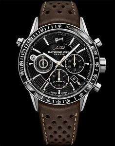 """The Raymond Weil Freelancer Chronograph """"Gibson Les Paul"""" timepiece celebrates the spirit of Gibson's iconic Les Paul guitar and its role in the history of rock 'n' roll. More @ http://www.watchtime.com/wristwatch-industry-news/watches/raymond-weils-tribute-to-the-les-paul-gibson-guitar/ #raymondweil #watchtime #chronograph #Baselworld2017"""