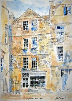 Sally Lunns Bath UK A4 size print of a pencil & watercolour drawing by john menage on Etsy, £10.00