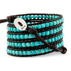 The Turquoise Wrap Bracelet on Natural Dark Brown Leather by Jewelry Designer Chan Luu