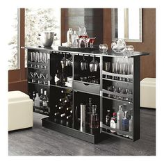 Steamer Bar Cabinet from Crate and Barrel- gorgeous closed, so much storage inside!