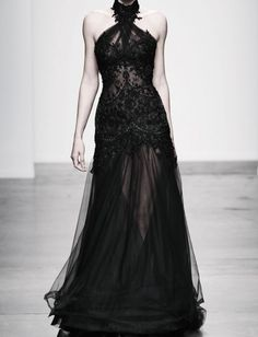 Runway Dress black sheer lace evening gown