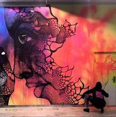 Amazing street art by Carolina Falkholt Murals Street Art, 3d Street Art, Street Art Graffiti, Street Artists, Amazing Street Art, Amazing Art, Awesome, Mandala Art, Art Fauvisme