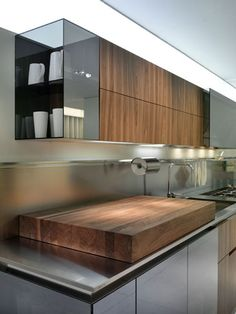 Designer Kitchen from Rossan - Geneva (Ginevra) kitchen design in walnut, lacquer & glass