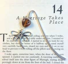 Dragonfly and Amber Bookmark by JustRepartee on Etsy