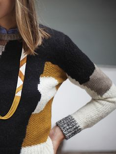 LOVE the colors - CARVEN  PATCHWORK JACQUARD KNIT PULLOVER    Long-sleeved jacquard knit pullover with patches of merino wool, yak, mohair, kid mohair, cashmere, poly-acrylic and poly-amide. made in france. From Maryam Nassir Zadeh online shop.