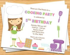 Cooking Party Invitation Kids baking party por TheWrightInvite