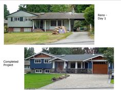 Before and After photos - Renovation of 1960's split-level rancher.  Contractor:  TQ Construction (Burnaby, BC); Landscaper:  Coastal Design Landscaping (Coquitlam, BC)