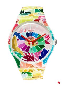 Add this floral watch from SWATCH to your arm candy collection. Paired with colorful friend- ship bracelets it will be your seasonal go-to for sure.
