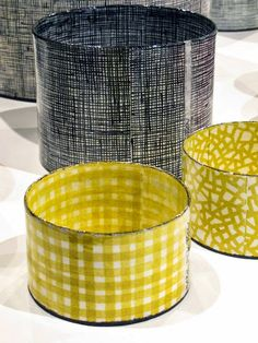 Cylinder vessels by Swedish ceramic artist Karin Bengtson. via pink pagoda studio