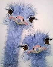 baby ostriches watercolour x