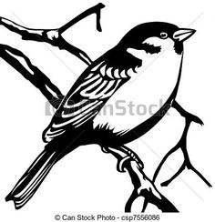 vector silhouette sparrow on white background Bird Stencil, Stencil Painting, Damask Stencil, Faux Painting, Bird Drawings, Colorful Drawings, Sparrow Tattoo Meanings, Bird Outline, Silhouette Clip Art