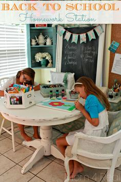 Back To School Homework Station-- great idea for Back-To-school season!