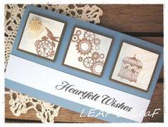 LEAFの「手作りカード」な暮らし。/ 手作りペーパーアイテムのお店「LEAF SHOP」-青×茶の横長メッセージカード