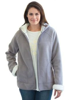 Woman Within Plus Size Jacket In Hooded Fleece (Heather Grey,3X) Woman Within. $32.88