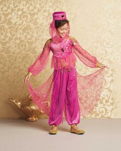 arabian genie girls costume -exclusively ours - The appearance of your beautiful genie conjures up images of ancient lands, flying carpets and magic lamps. #halloween #girlscostumes