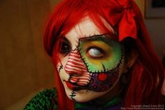 Patchwork doll.   33 Totally Creepy Makeup Looks To Try This Halloween