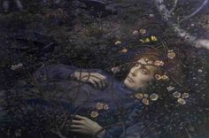 """""""Oh, what's in the hollow, so pale, I quake to follow?"""" """"Oh, that's a thin, dead body, which awaits the eternal term."""", Edward Robert Hughes"""