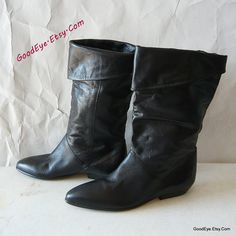Vintage Leather WIDE Leg Slouch Boots Sz 9 AA Eur 40 UK by GoodEye