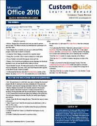 #Microsoft #Office 2010-- Free Quick Reference Card