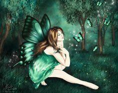Exotic Fantasy Fairies | Green Fairy, abstract, beauty, butterfli, fairy, fantasy, forest, girl ...
