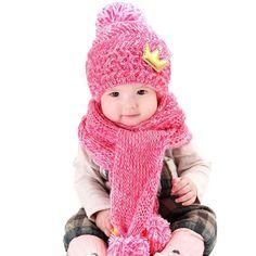 b5fae465d81 baby winter hat Cute Winter Baby Kids Girls Boys Warm Woolen Coif Hood