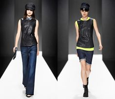 (8a) Womens Refender Blumer Loose Wide Leg Denim Jeans - (8b) Womens RE Leather Radar Top & MC5620 Long Denim Shorts - G-Star RAW 2013 Spring Summer Womens Runway Collection