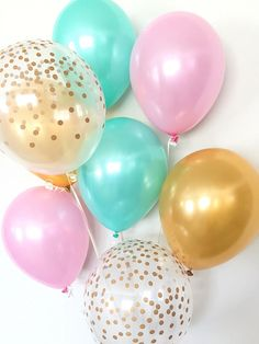 Pink Mint and Gold Balloon Bouquet  Pink and Mint Balloon