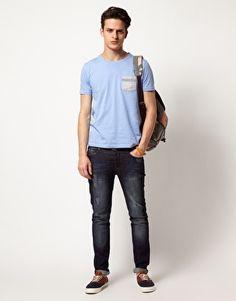 ASOS | ASOS T-Shirt With Stripe Woven Pocket at ASOS
