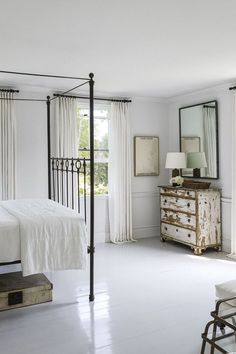 White Painted Wood Floors, White Wooden Floor, Wood Floor Design, Bedroom Flooring, Wood Flooring, Bedroom Furniture, Bedroom Dressers, Flooring Ideas, Kitchen Furniture