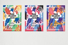 Belgrade designer Monika Lang's set of posters and visuals for Dan Mladih (Youth Day) in Kragujevac, Serbia remind me of Matisse's cut-outs but with softer, more rounded edges as though they've been created using those child-friendly, red-handled scissors we used as kids. The graphics feel wholesome without being saccharine as vibrantly-hued leaves and flora overlap and gather around the main body of text interspersed with multicoloured dots, dashes and symbols.