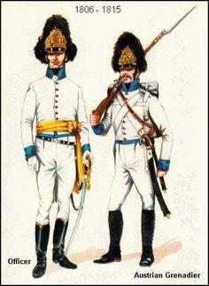 Austria- Granaderos, oficial y soldado 1806-15