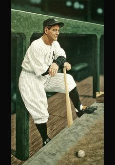 New York Yankees Baseball, Baseball Art, Lou Gehrig, New York Pictures, Baseball Pictures, Today In History, Mickey Mantle, American Sports, Great Team
