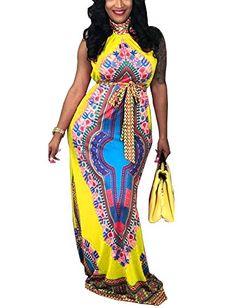 eb89222e82a0  33.99 - Women s Traditional African Print Dashiki Sleeveless Retro Long  Maxi Dress with Belt Kitenge