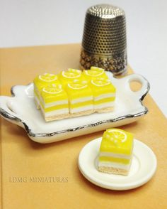 1:12 Scale Miniature. 4 Lemon Cakes. Dollhouse Miniature Food