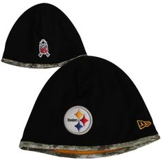 New Era Pittsburgh Steelers Salute to Service On-Field Knit Beanie - Black/Digital Camo