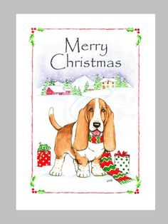 Basset Hound Christmas Cards Box of 16 Cards and Envelopes by Judzart on Etsy https://www.etsy.com/listing/112263448/basset-hound-christmas-cards-box-of-16