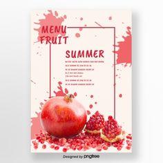 Fresh posters of summer pomegranate fruit splashing Template Blueberry Fruit, Banana Fruit, Mango Fruit, Pineapple Fruit, Watermelon Fruit, Fruit Splash, Food Graphic Design, Packaging Design, Product Packaging