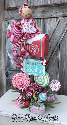 me ~ Candy Land Centerpiece, Christmas Centerpiece, Christmas Decor, Gingerbread Centerpiece, Gingerbread Decor Gingerbread Christmas Decor, Candy Land Christmas, Gingerbread Crafts, Gingerbread Decorations, Candy Christmas Decorations, Whimsical Christmas, Pink Christmas, Christmas Themes, Christmas Holidays