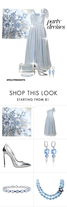 """""""#PolyPresents: Party Dresses"""" by shamrockclover ❤ liked on Polyvore featuring RED Valentino, Elie Saab, Casadei, Sidney Garber, Luise, contestentry and polyPresents"""