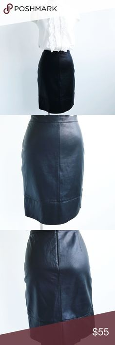 NWT BEBE Black 100%  Leather  Pencil Skirt NWT BEBE black leather pencil skirt 100% leather,  perfect with any outfits,  pleaded details on the back ,fully lined,  back zip closure . Leather very soft like a skin. bebe Skirts Pencil