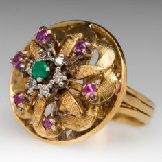 18K Floral Emerald Diamond Ruby Cocktail Ring