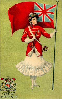 Vintage Graphic Image - British Flag Lady - The Graphics Fairy