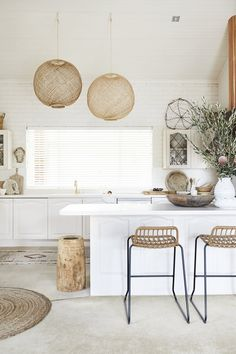 home decor kitchen Three Birds Renovations Kitchen Makeover under Paint Transformation, Tile Paint, Cabinet Paint, Renovation Paint, Benchtop Paint Visual Design, Küchen Design, Home Design, Beach Interior Design, Design Ideas, Modern Design, Boho Kitchen, Home Decor Kitchen, Home Kitchens