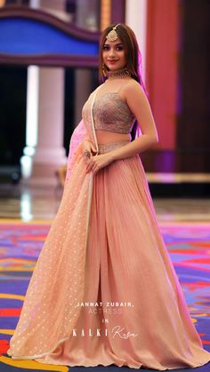 #CelebSpotted💖 We are majorly crushing over @jannatzubair29 and her sleek yet elegant intimate wedding guest look in our Pastel Pink Lehenga from our from our #YetToBeReleased wedding styles. Well, she's definitely serving looks, and we love it. ✨ Indian Bridal Outfits, Indian Fashion Dresses, Dress Indian Style, Indian Gowns, Girls Fashion Clothes, Bridal Dresses, Indian Wear, Fashion Outfits, Stylish Outfits