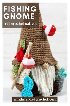 Crochet Fish Patterns, Crochet Patterns Amigurumi, Crochet Dolls, Amigurumi Doll, Fish Crafts, Crafts To Do, Crochet Crafts, Crochet Projects, Fishing Gnome