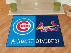 Keep this Chicago Cubs - St. Louis Cardinals MLB House Divided Mat by Fanmats in your home to let your loved ones and guest know your team is not to be reckoned with! Cubs Cardinals, St Louis Cardinals, Kansas City Chiefs Logo, Chicago Cubs Logo, Southern Illinois, Chicago Illinois, Quincy Illinois, Novelty Rugs, House Divided