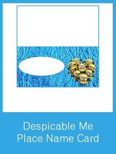 Despicable Me Table Place Name Card - FREE PDF Download
