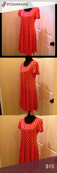 "Super Fun & Flowy Red Dress with White Polka Dots Super Fun & Flowy Red Dress with White Polka Dots. Tons of movement & bounce. Length = 36"" sleeve length = 6.5"" bust = 38"" 94% polyester 6% spandex Sami & Jo Dresses"
