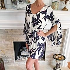 Navy/Pink design stunning fully lined dress This is so beautiful- featuring 3 qtr split sleeves and a beautiful cut! Must have light and easy summer dress! Dresses