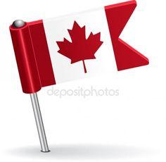 Bandera de icono pin canadiense. Ilustración de vector Ilustración De Stock